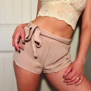 Cream Wrap Shorts